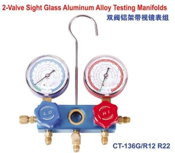 2-valve sight glass aluminum alloy testing manifolds