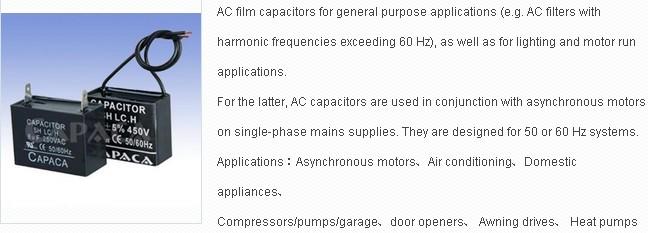 Air Conditioner Fan Motor Capacitor CBB61