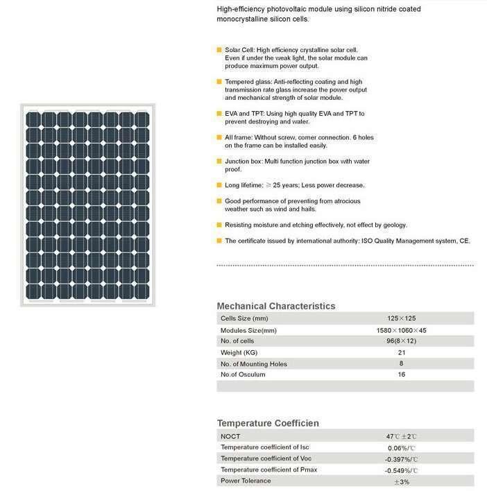 Solar Panel 220W MonoCrystalline