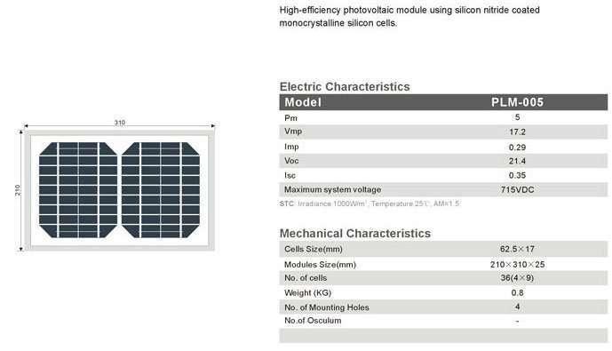Solar Panel 5W MonoCrystalline