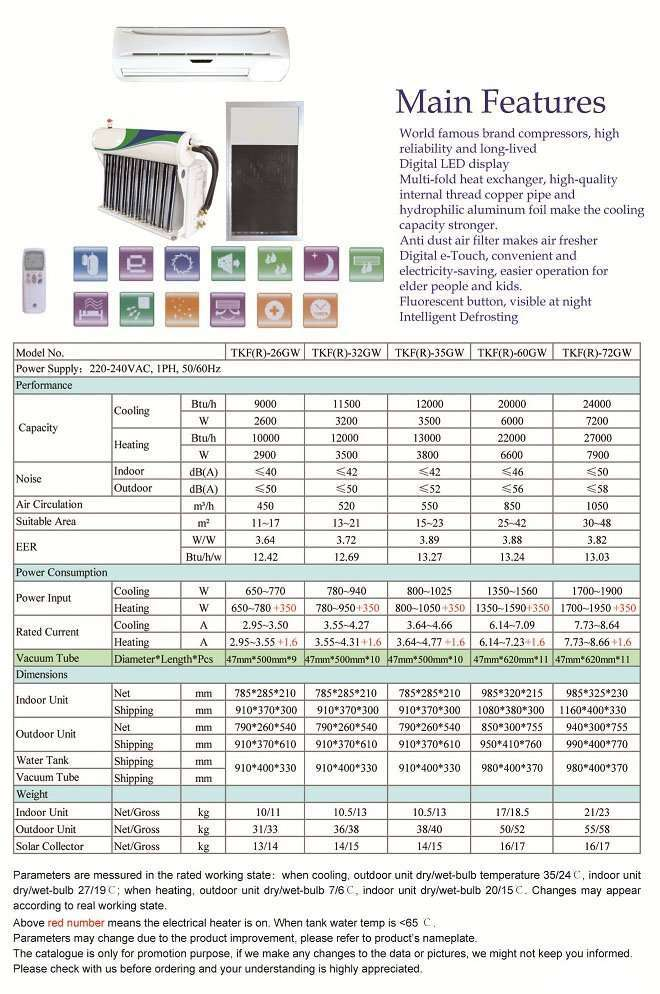 Solar air conditioner wall mounted type