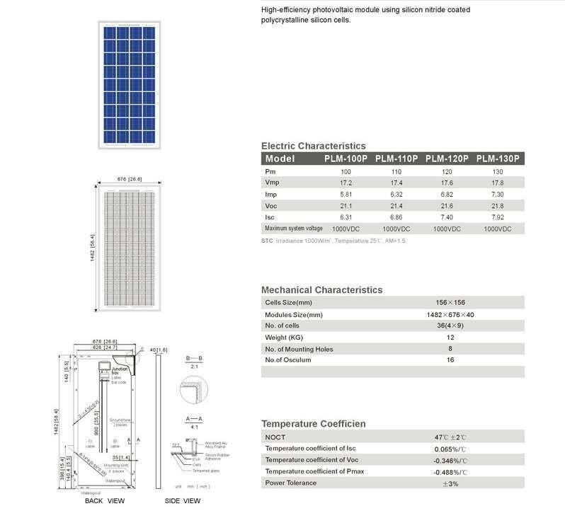Solar Panel 130W polycrystalline