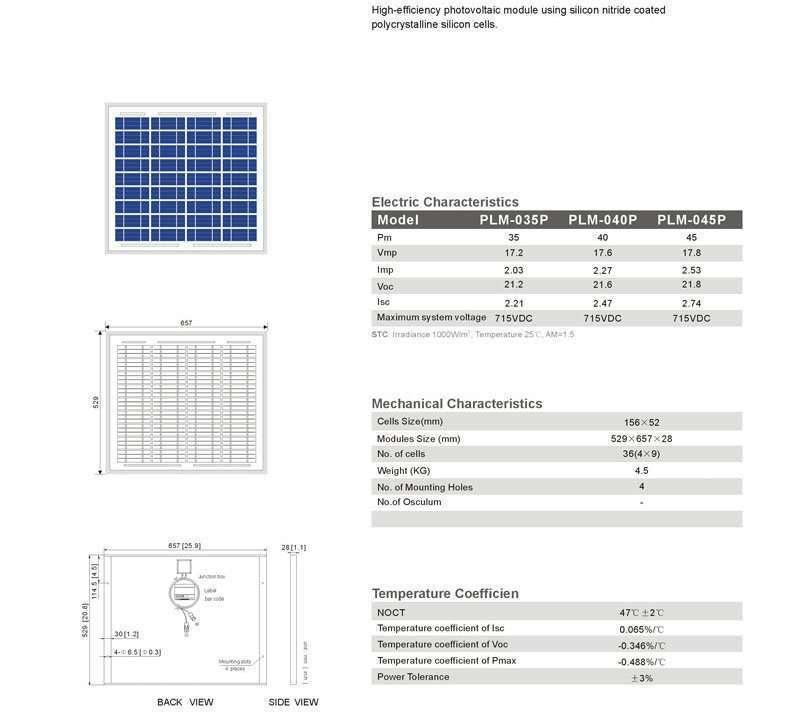 Solar Panel 45W polycrystalline