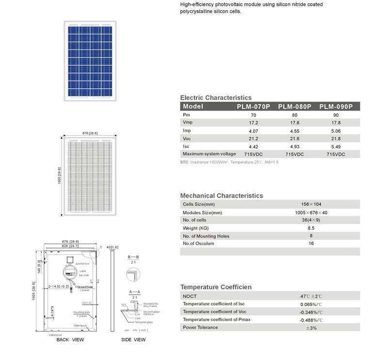 Solar Panel 80W polycrystalline