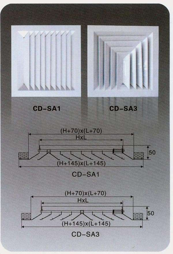 Supply air 3-way diffuser