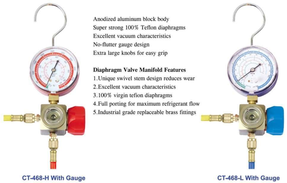 """one valve with sightglass and 1/4"""" sae fitting manifold"""
