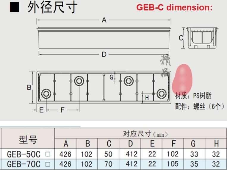 pre-installed box GEB-C dimension