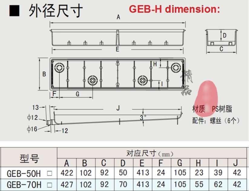 pre-installed box GEB-H dimension