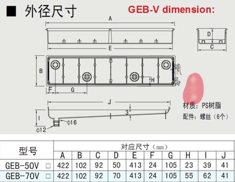 pre-installed box GEB-V dimension