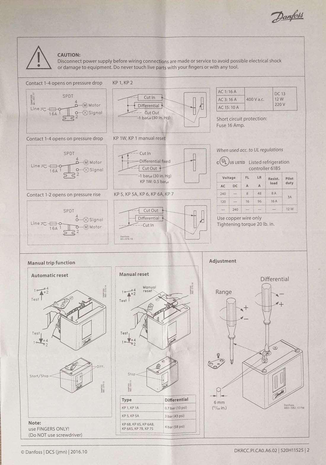 Danfoss pressure controls switches(KP1 KP2 KP5) 1