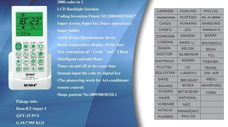 Air Conditioner Remote Control Kt Super1 Manufacturer Supplier China