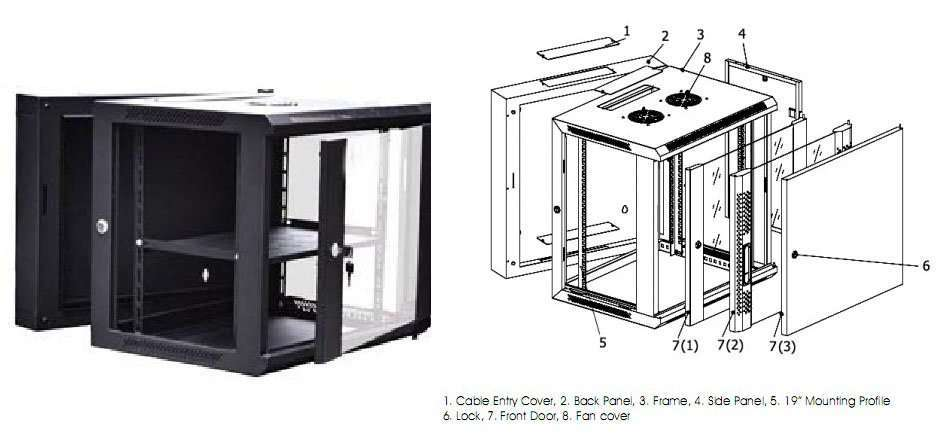 Double Section Wall Mounted Server Cabinets
