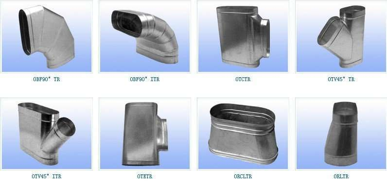 Type 1 Hoods Ducting ~ Oval spiral air duct and fittings manufacturer supplier china