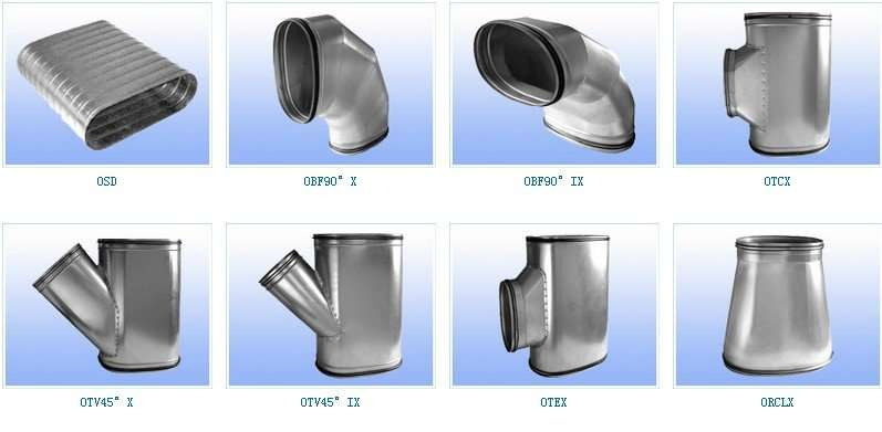 Hvac Parts Oval Spiral Air Duct And Fittings