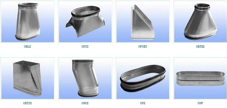Oval spiral air duct and fittings manufacturer supplier china