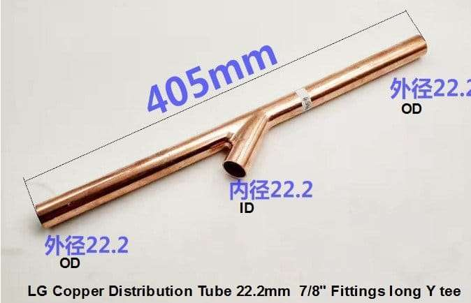 LG Copper Distribution Tube 22.2mm Fittings long Y tee