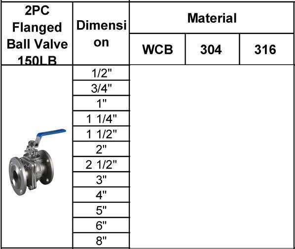 2pc flanged ball valve 150LB