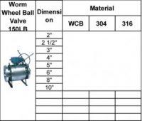 Worm wheel ball valve 150lb
