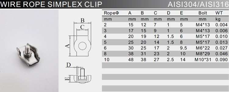 SS Simplex Wire Rope Clip Cable Clamp Single Bolt Specification