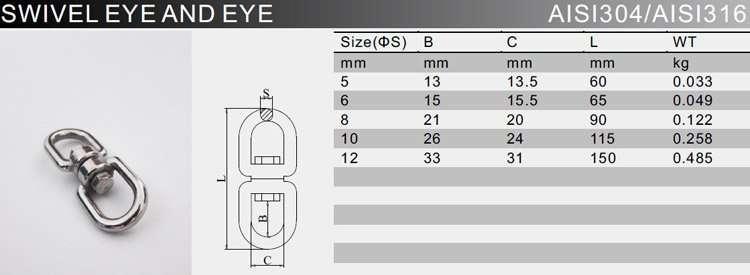 SS Swivel Eye And Eye Specification