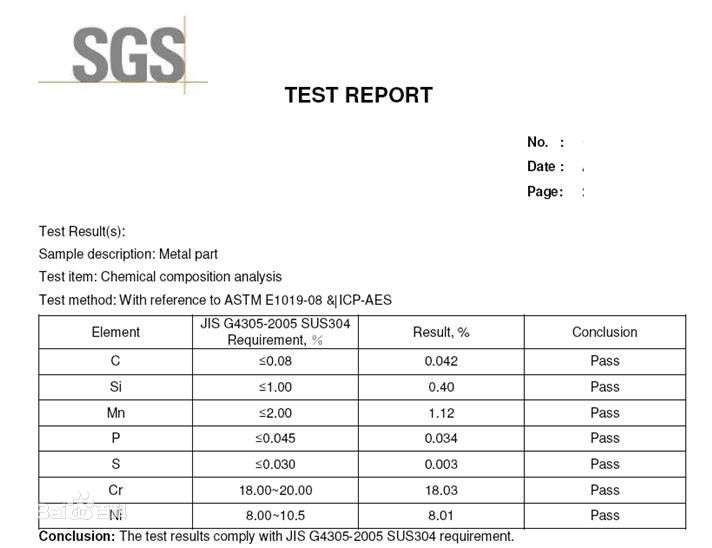 SS304 SGS report