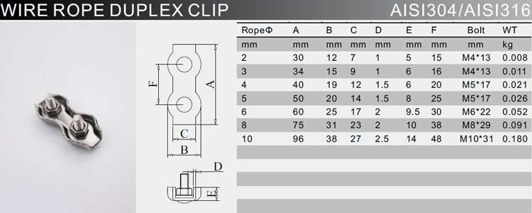 Stainless Steel Duplex Wire Rope Clip Cable Clamp Double Bolt ...