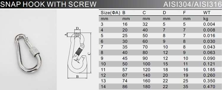 Stainless Steel Snap Hook with screw specification