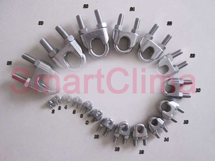 many-SS-wire-rope-clip