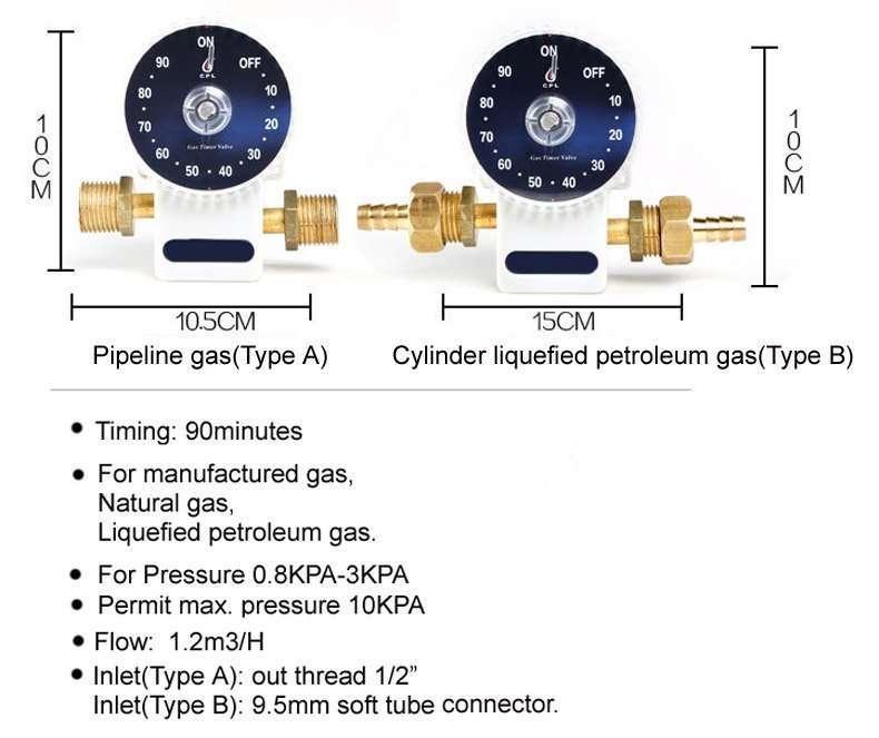 gas shut off valve timer specification