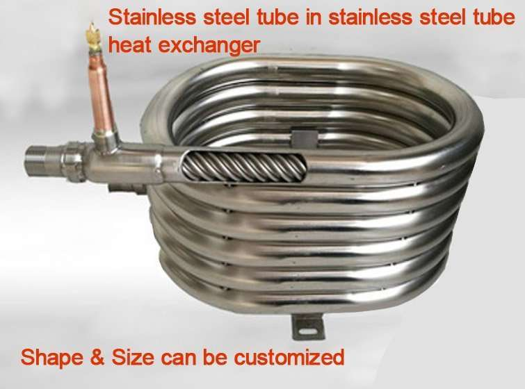 Stainless steel tube in stainless steel tube heat exchanger