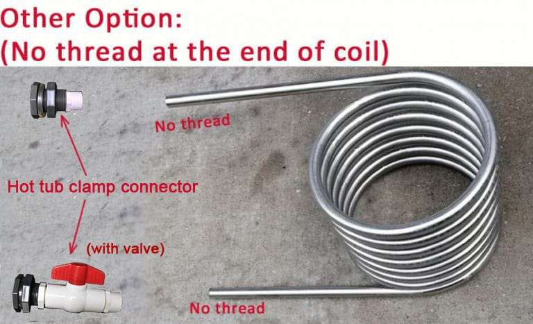 wood burning coil heater with connector