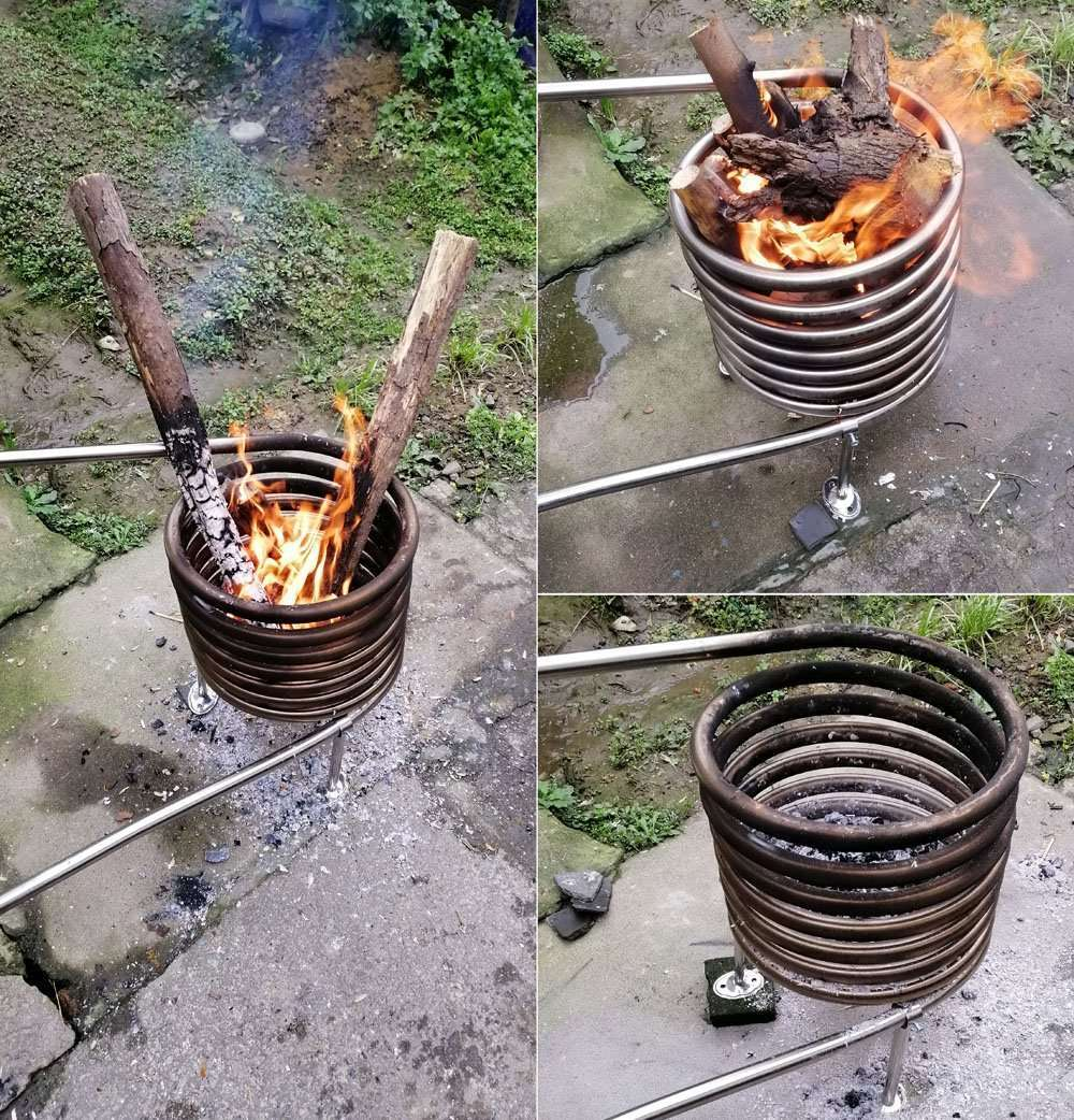 wood fired coil heater