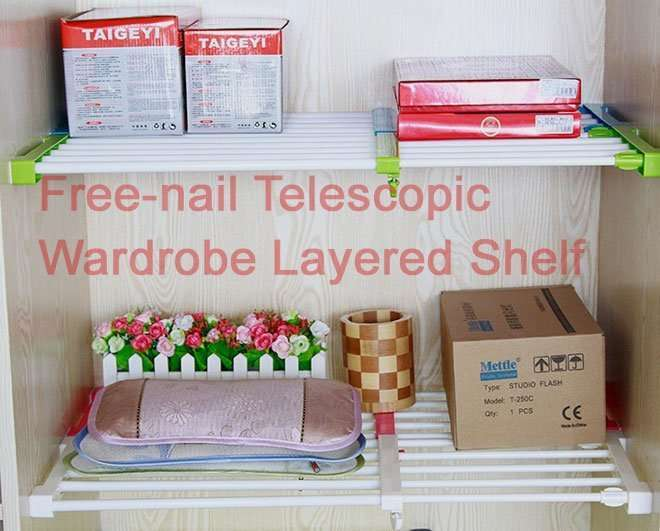 Free-nail Telescopic Wardrobe Layered Shelf