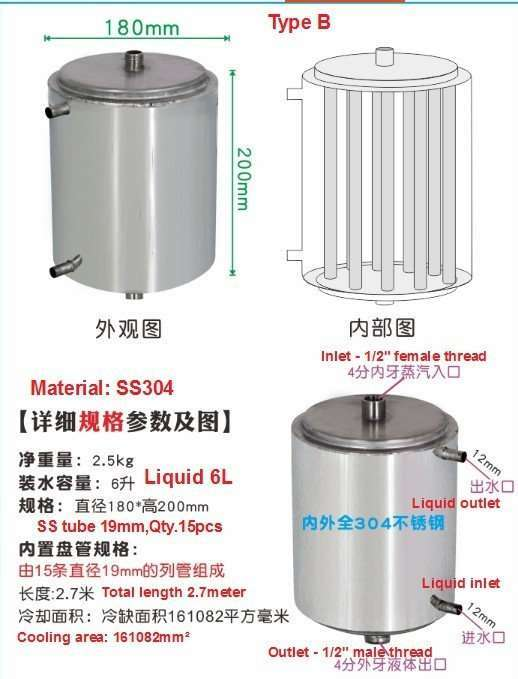 Type B coil in shell heat exchanger