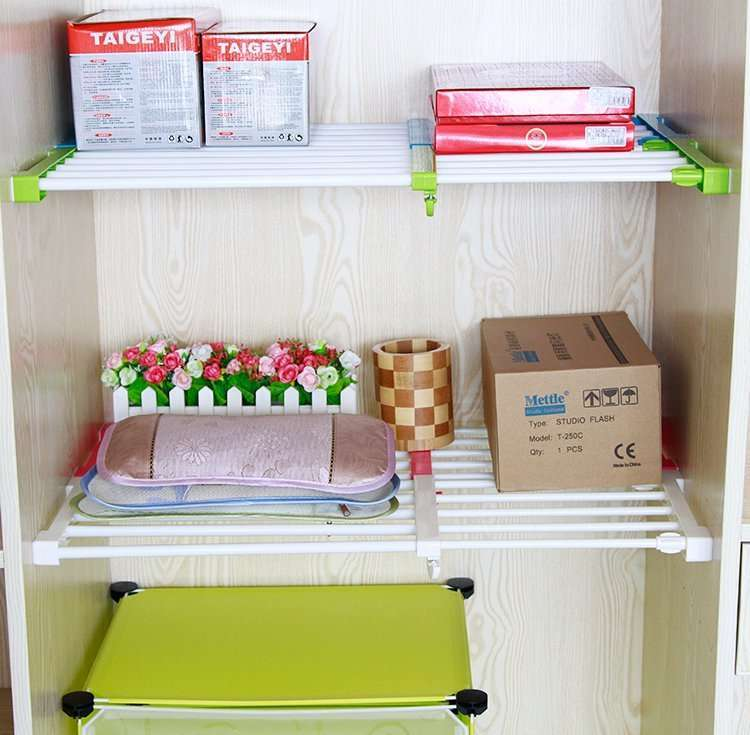Smartclima » Free-nail Telescopic Wardrobe Layered Shelf
