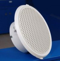 Round egg crate grille with volume control damper