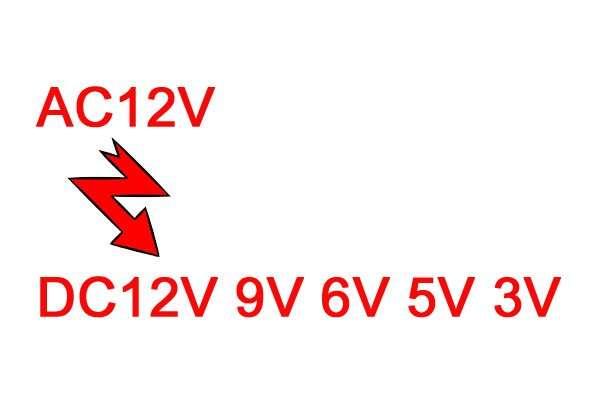 AC12V TO DC12V 9V 6V 5V 3V converter