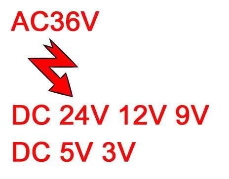 AC36V-To-DC24V-12V-9V-5V-3V
