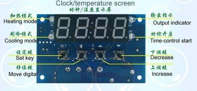 Digital Thermostat module Model XH-W1304 key
