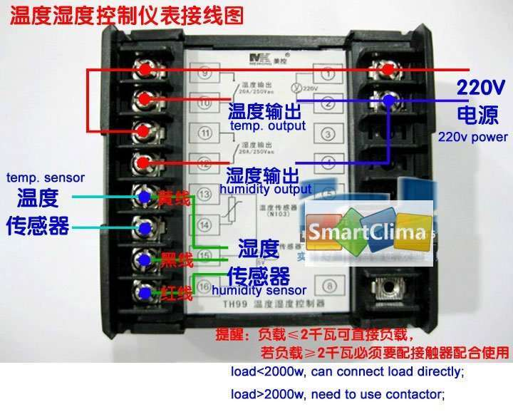 temperature and humidity controller wiring