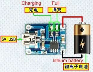 wiring of TP4056 1A lithium battery charging board charging module lithium battery charger Mini USB interface.jpg