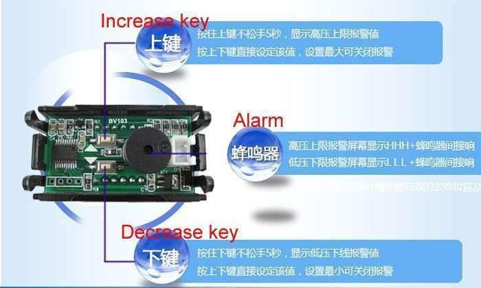 DC48V Digital Voltage Displaying and Measuring Meter DC5-68V 61