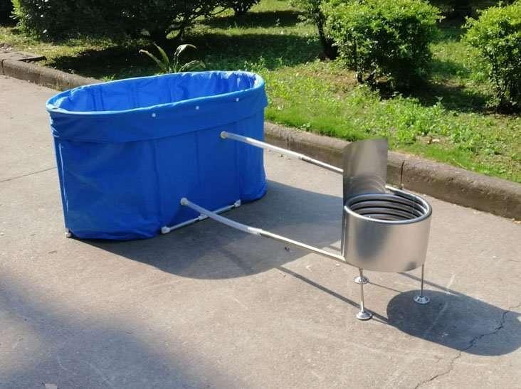 Portable wood-fired hot tub,Foldable wood-burning hot tub