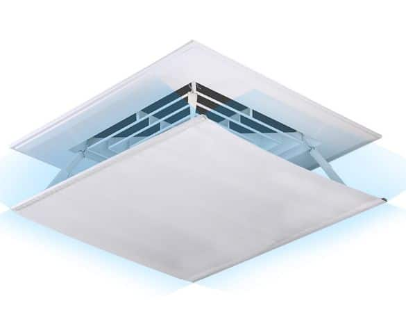 Air deflector for ceiling air diffuser 10