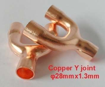"Copper joint Y-shaped tee φ28mmx1.3mm,1-1/8"" 2"