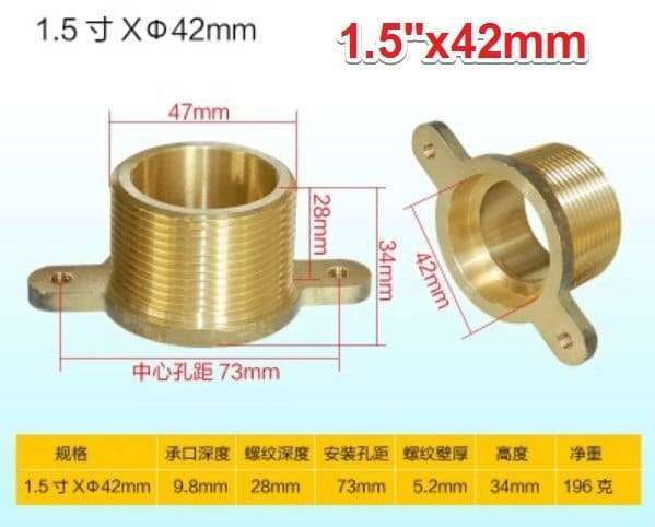 Brass single male thread socket connector with fixed ear flange 14