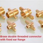 Brass double threaded connector with fixed ear flange