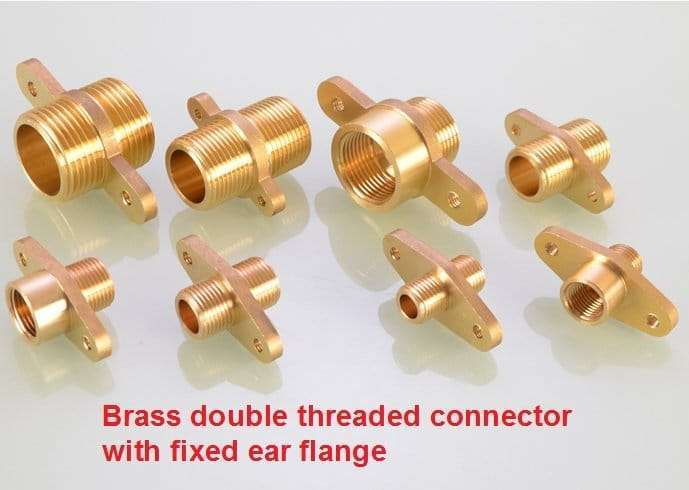 Brass double threaded connector with fixed ear flange 2