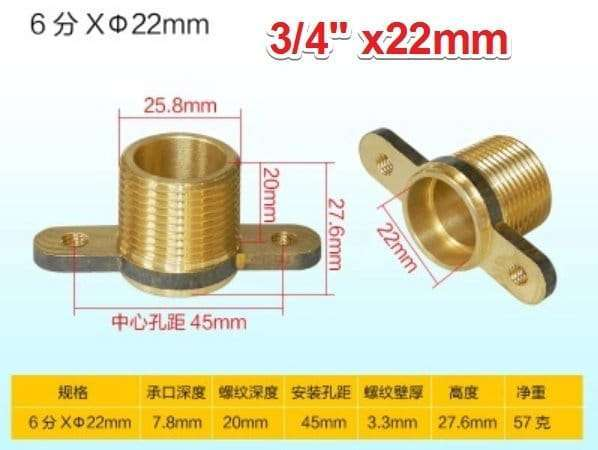Brass single male thread socket connector with fixed ear flange 8