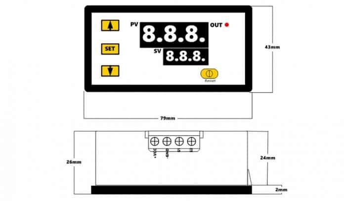 High precision digital temperature controller DC12V DC24V AC110~220V 62